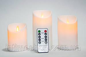 Электронные ЛЕД свечи на батарейках (BJ 541-R) светодиодные свечки с имитацией пламени (3 шт./уп.) (TI)