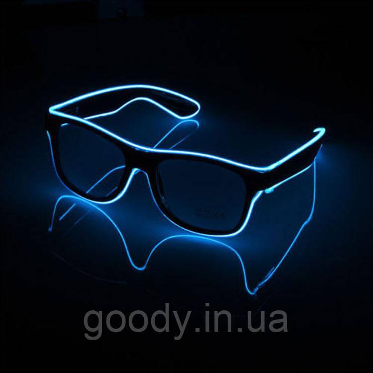 Окуляри світлодіодні прозорі El Neon Ray Blue (неонові)