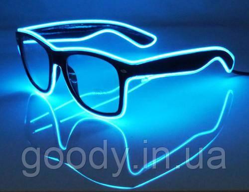 Окуляри світлодіодні прозорі El Neon Ray Ice Blue (неонові)