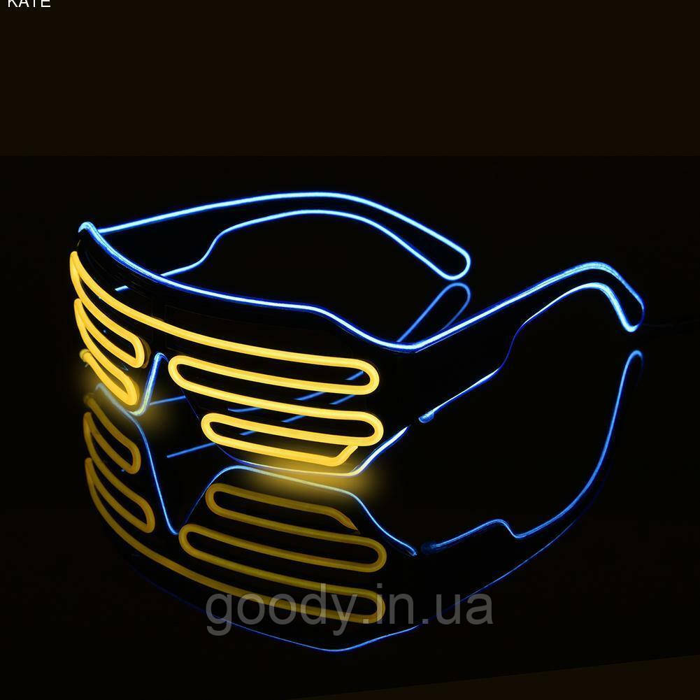Окуляри світлодіодні El Neon Spiral Yellow Ice Blue (неонові)