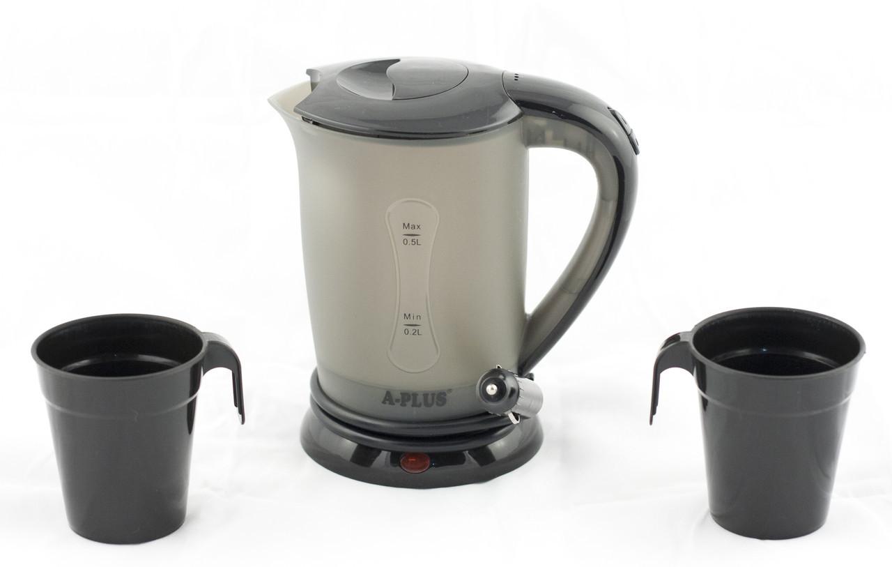 Чайник от прикуривателя 12 вольт  А-плюс ЕК-1518 Черный на 0.5 л, автомобильный чайник  (GK)