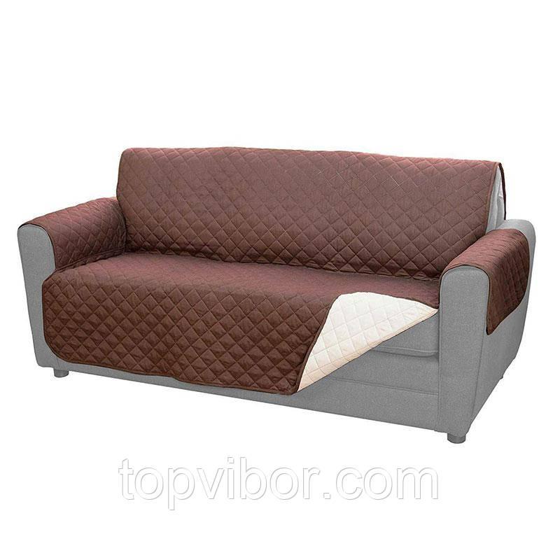 Покривало на диван (170х135 см) двостороннє Couch Coat, Коричневий, накидка на меблі