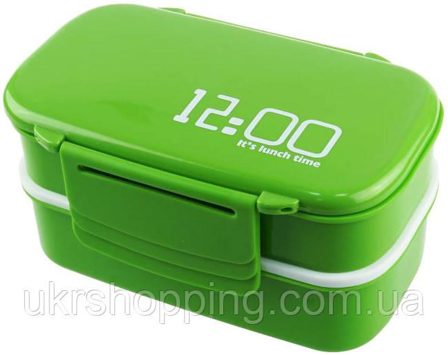 Ланч бокс контейнер для їжі з відділеннями 2 в 1 (12.00 It is lunch timе), термосудок, колір - зелений