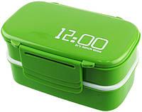 Ланч бокс контейнер для їжі з відділеннями 2 в 1 (12.00 It is lunch timе), термосудок, колір - зелений, фото 1