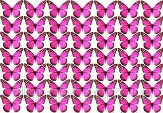 Вафельна картинка для кондитерских виробів, топерів, пряників, капкейків Метелики (листок А4) 18