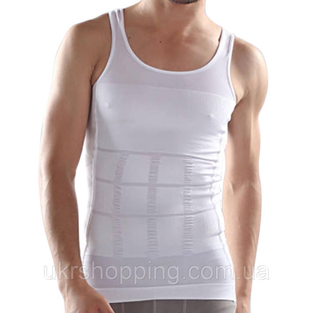 Распродажа! Утягивающее белье - майка мужская корректирующая Slim-n-Lift - XL, белая, с доставкой
