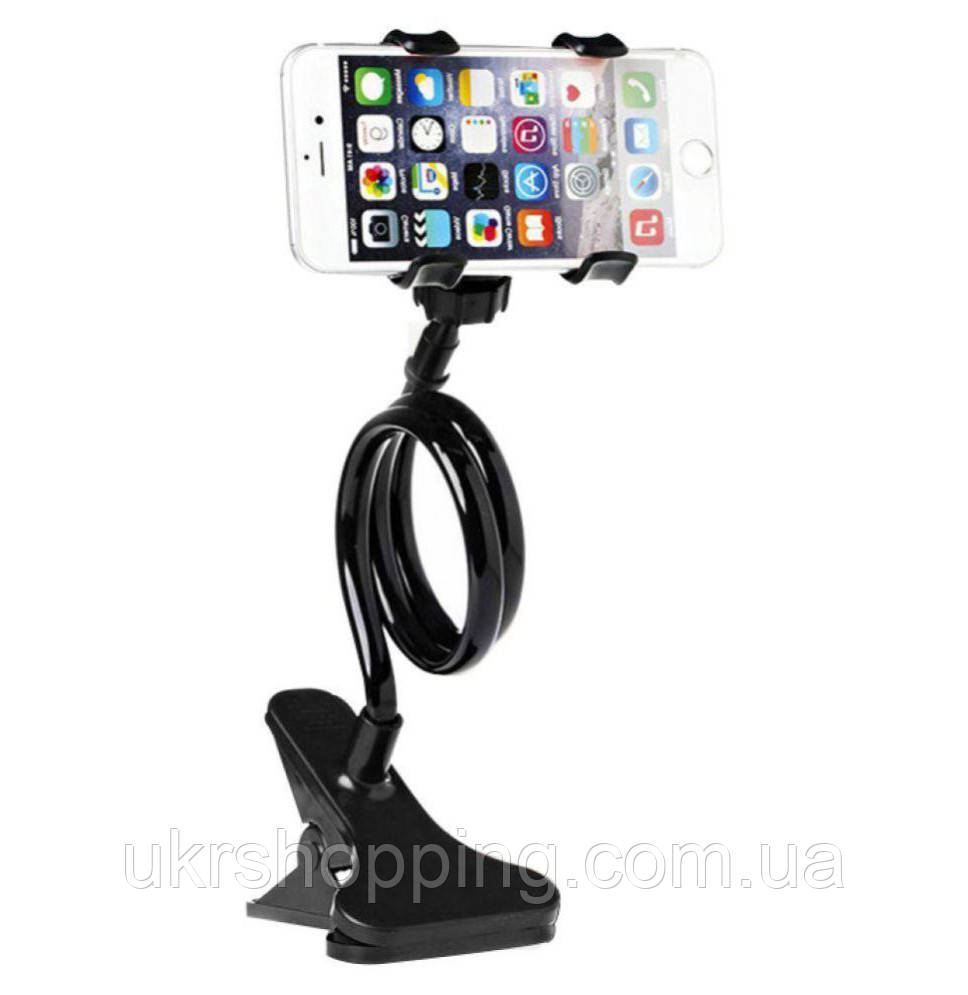 Гнучкий тримач для телефону прищіпка Чорний LRZJ LR-01 Гнучкий тримач з доставкою