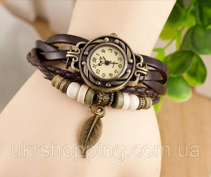 🔝 Годинник з браслетом, жіночі, механічні, колір - коричневий | 🎁%🚚