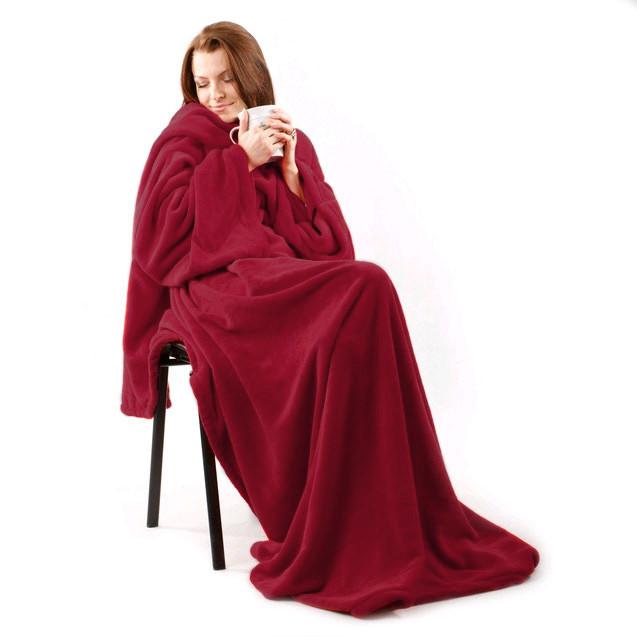 Мягкий плед с рукавами Snuggie Бордовый 180x140 см, плед халат с рукавами снагги   плед одіяло з рукавами (GK)