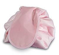Большая дорожная женская раскладная косметичка-мешок Magic Travel Pouch Розовая