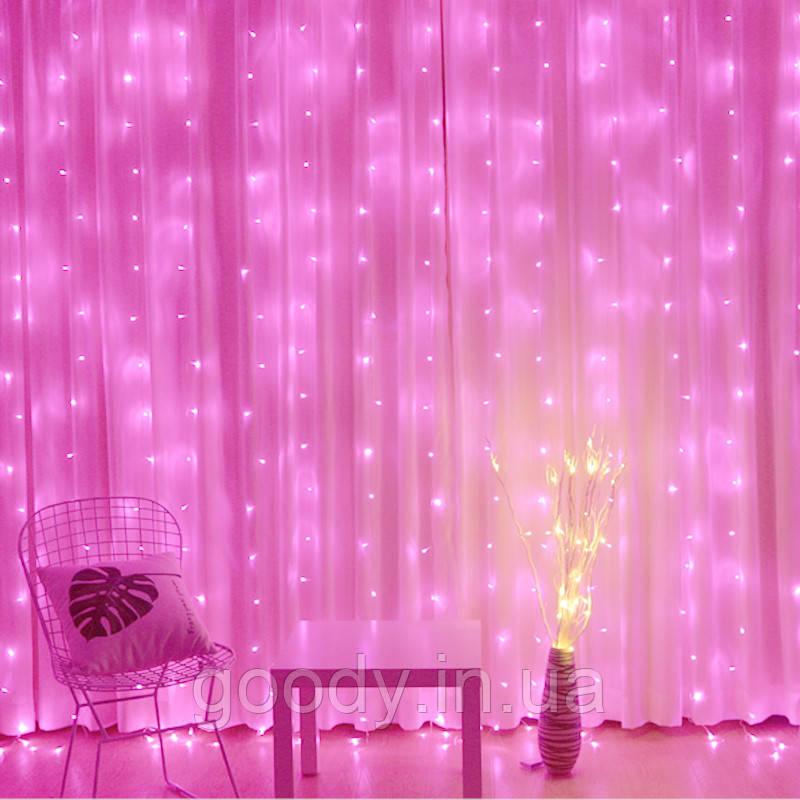 """Світлодіодна гірлянда LTL штора curtain """"крапля роси"""" 3 * 3 метра 300 led з пультом рожева Pink"""