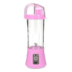 Портативный фитнес блендер для смузи и коктейлей с бутылкой Ollipin аккумуляторный USB шейкер Розовый (GK)