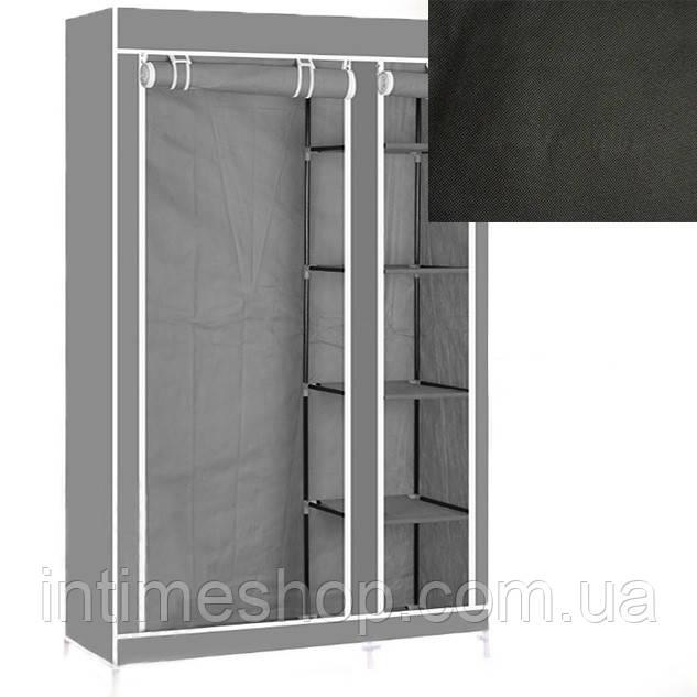 Портативный тканевый шкаф-органайзер для одежды на 2 секции - чёрный (TI)
