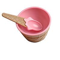 Мороженица с ложечкой (креманка для мороженого) Happy Ice Cream - розовая, фото 1