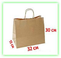 Бумажные пакеты с кручеными ручками 320х150х300 Подарочный крафт-пакет с ручками для подарков (25шт в уп.)
