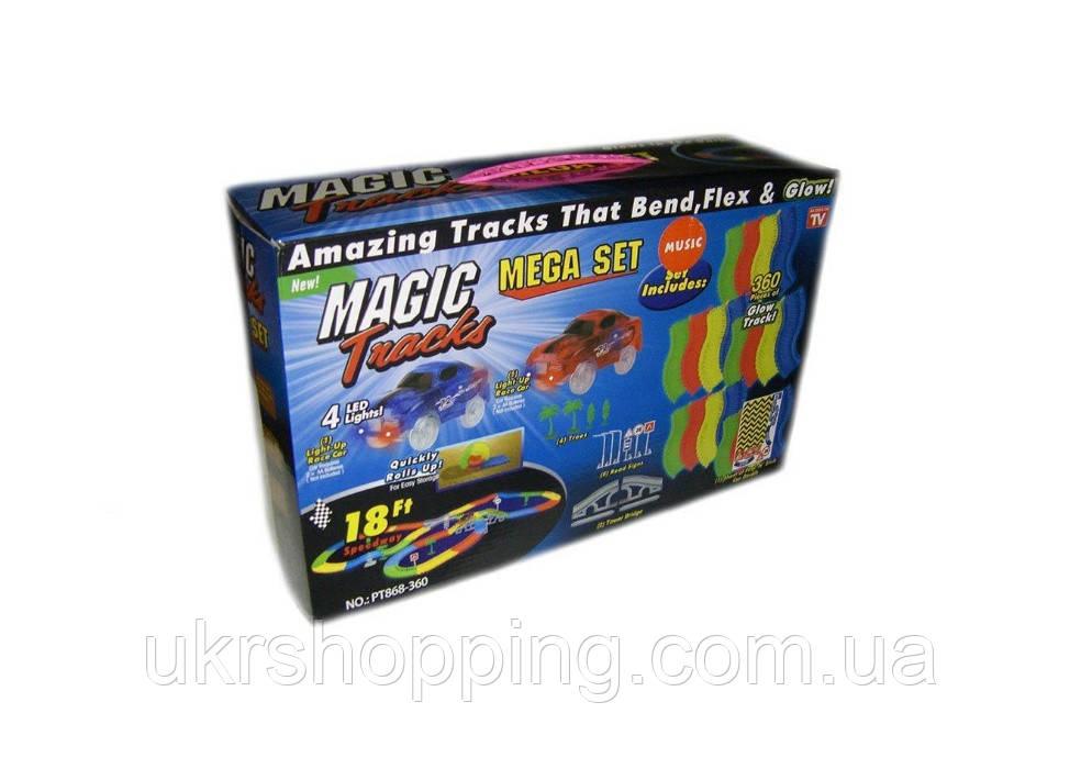 Magic Tracks 360 (модель B) - игрушечный гоночный трек-конструктор + 2 машинки синего цвета