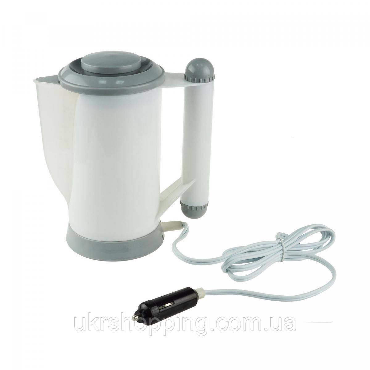 Автомобільний чайник, від прикурювача, 12в,700мл білий, чайник автомобільний,Water Kettle в машину