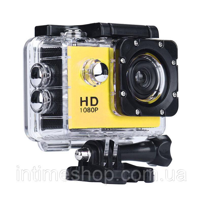 Нашлемная экстрим камера, A7 Sports Cam, HD 1080p, спортивная, водонепроницаемая, цвет - желтый (TI)