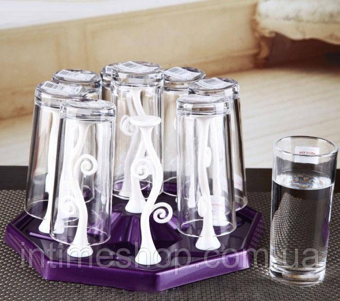 Подставка-сушилка для стаканов и чашек с держателями Kaiwen Cup Holder - фиолетовый