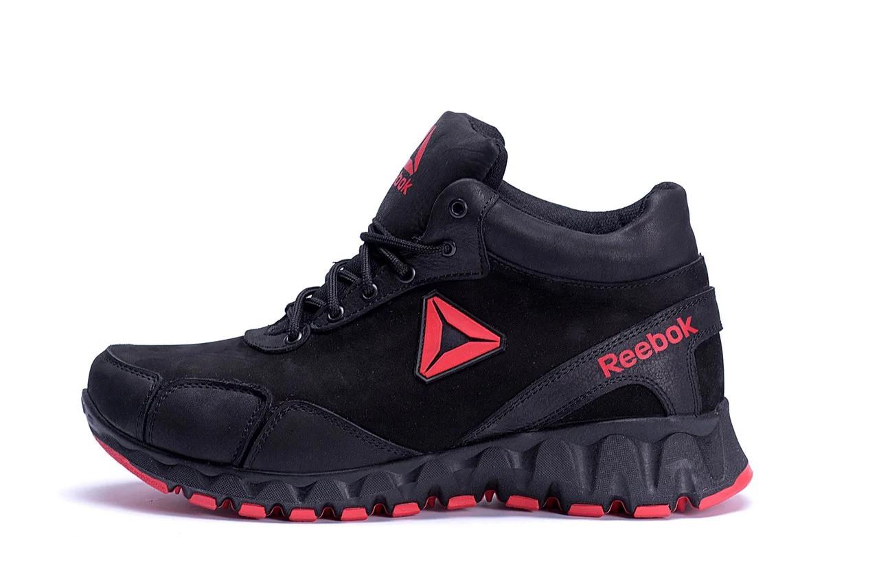 Мужские зимние кожаные ботинки  в стиле Reebok Crossfit  ПК-R-03 черн.W