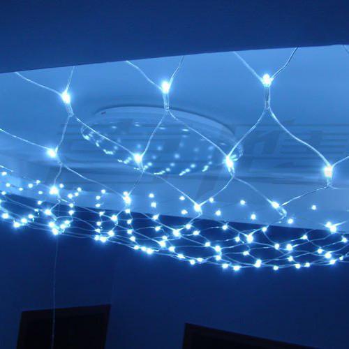 Новорічна гірлянда сітка 180 LED Синя, білий кабель, світлодіодна гірлянда на вікно | лед гирлянда