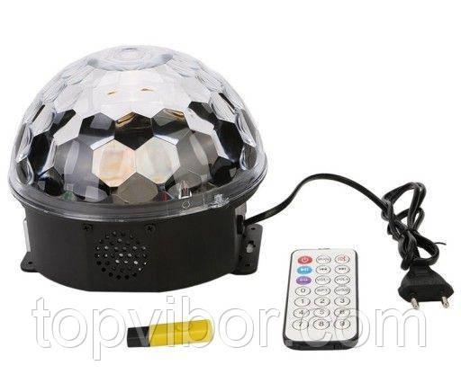 Диско шар с MP3 плеером LED Ball Light с ПДУ и флешкой, светодиодный шар для дискотеки, с доставкой