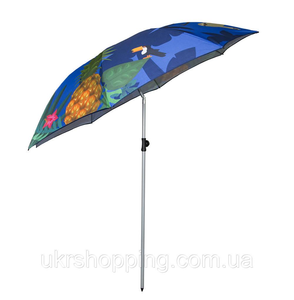 Зонт пляжный усиленный - 2 м. Синий, ананасы - большой складной зонтик на пляж (SH)
