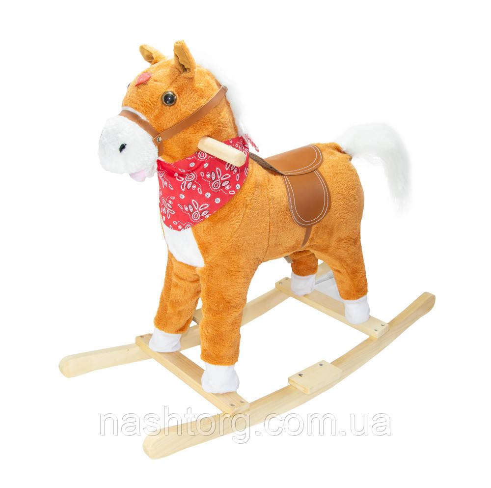 Музыкальная лошадка качалка детская, Плюшевая, Светло-коричневая (с платком) Высота - 62 см
