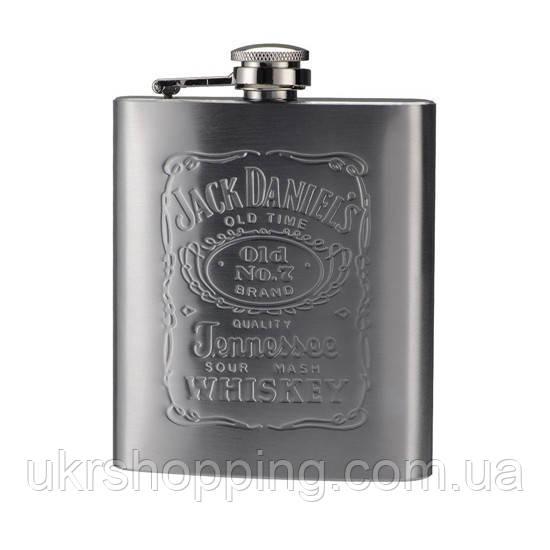Металлическая фляга, для виски, Jack Daniels, (Джек Дэниэлс), 0.2 л., подарочная фляжка для алкоголя