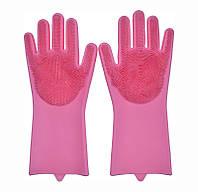 Перчатки силиконовые для мытья посуды хозяйственные для кухни Magic Silicone Gloves ярко розовые