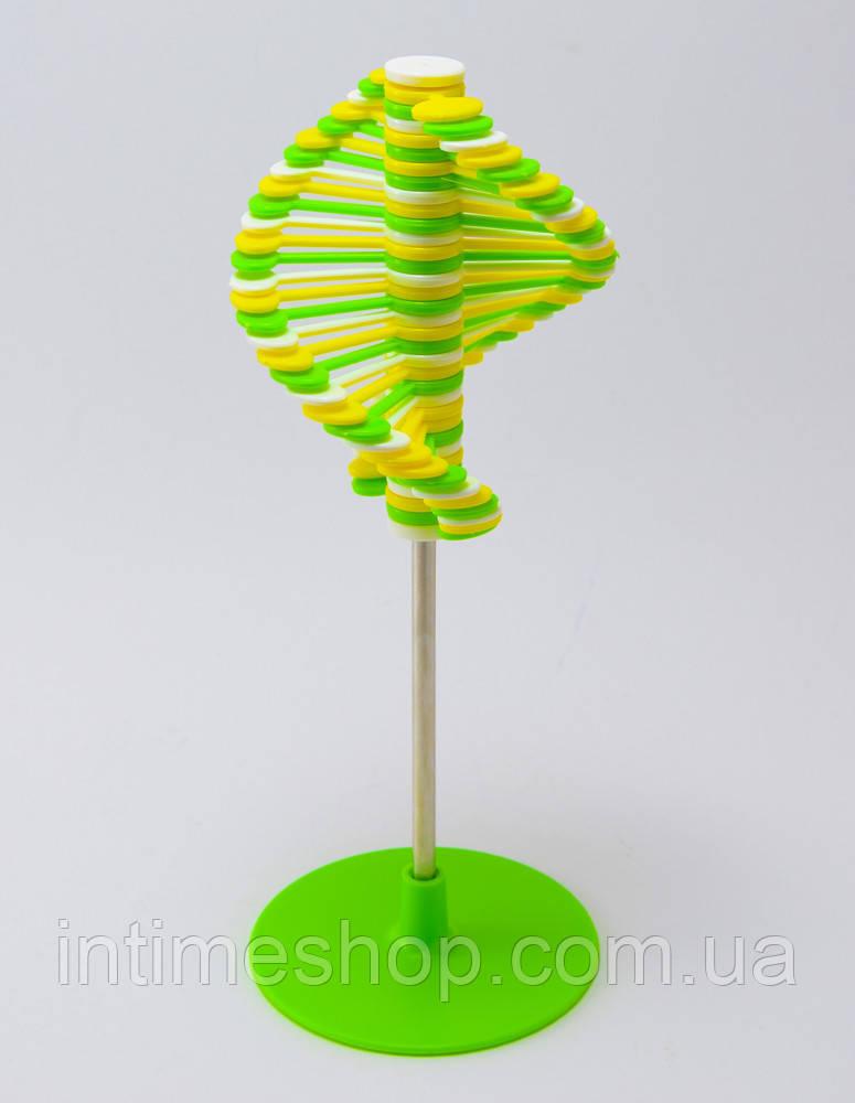 Игрушка антистресс Rainbow Lollipop Салатово-бело-желтая, массажер для ладоней, крутилка антистресс