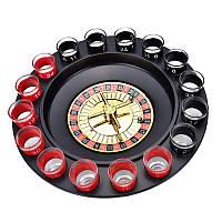 Гра п'яна рулетка з чарками 16 шт Червоно-Чорна, алко рулетка зі стопками   алкогольная рулетка, фото 1