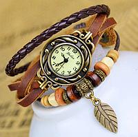 Женские часы с кожаным ремешком, часы браслет, цвет - кофейный