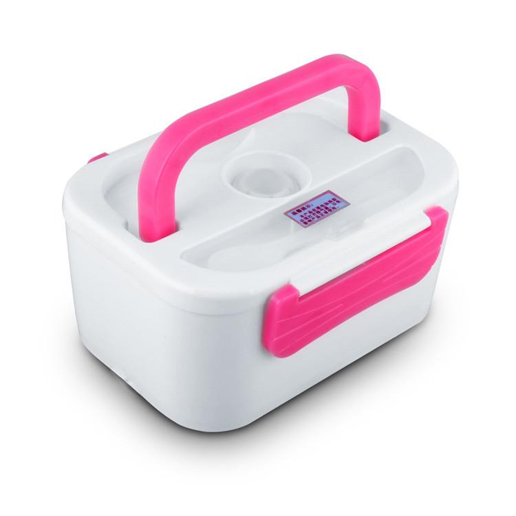 Ланч бокс, автомобильный на 12 V с подогревом, YY-3066 - Белый с розовым, пищевой контейнер для еды