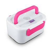 Ланч бокс, автомобильный на 12 V с подогревом, YY-3066 - Белый с розовым, пищевой контейнер для еды, фото 1