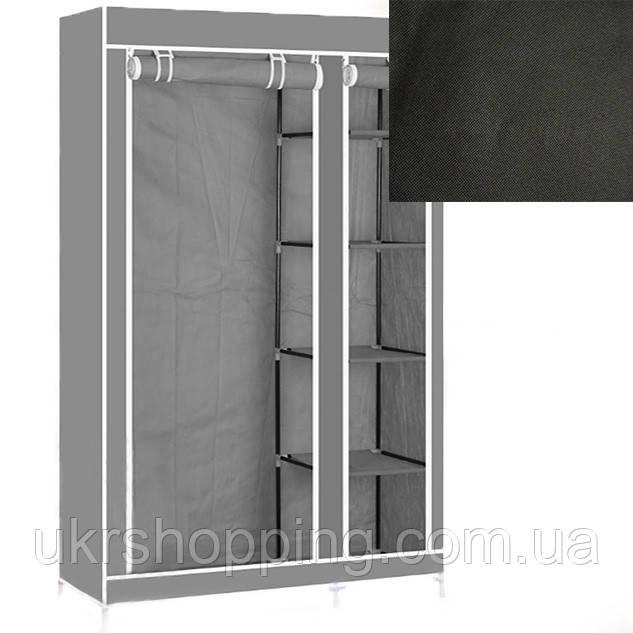 Портативный тканевый шкаф-органайзер для одежды на 2 секции - чёрный
