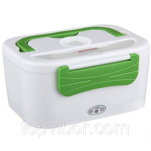 Электро ланч бокc автомобильный на 12-V с подогревом еды, YY-3066, Белый с зелёным, пищевой контейнер