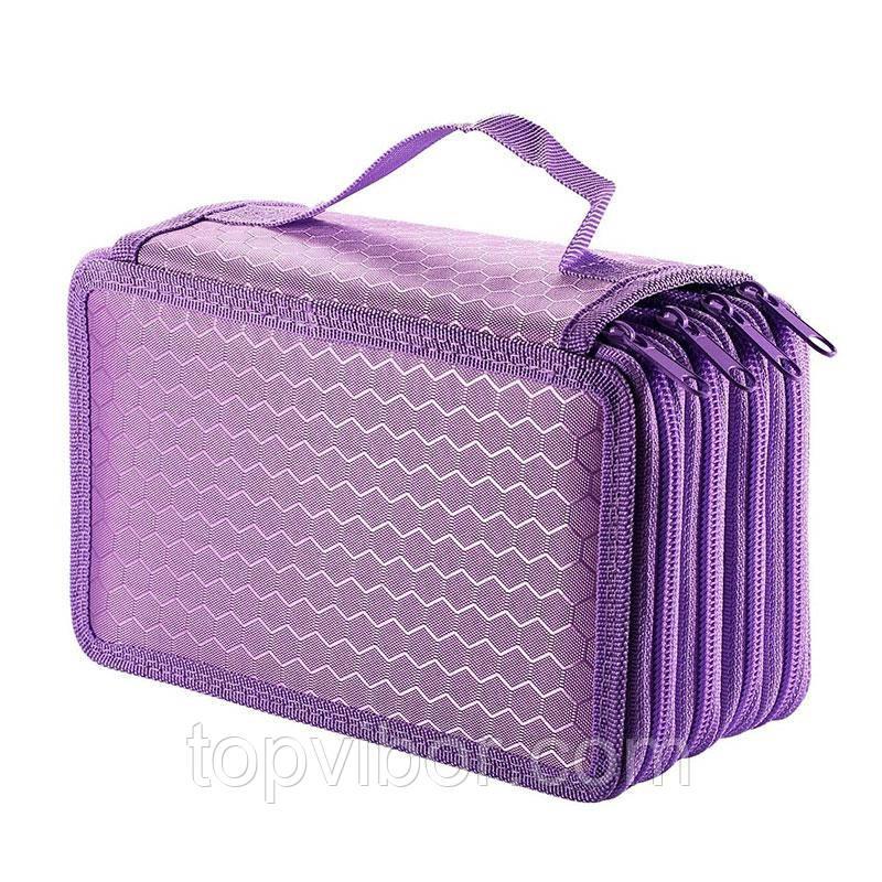 Школьный пенал, тканевый, для ручек и карандашей, цвет - тёмно-фиолетовый