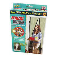 Москитная сетка на дверь на магнитах Magic Mesh 210x100 см Бежевая, сетка от мух   антимоскітна сітка (TI)