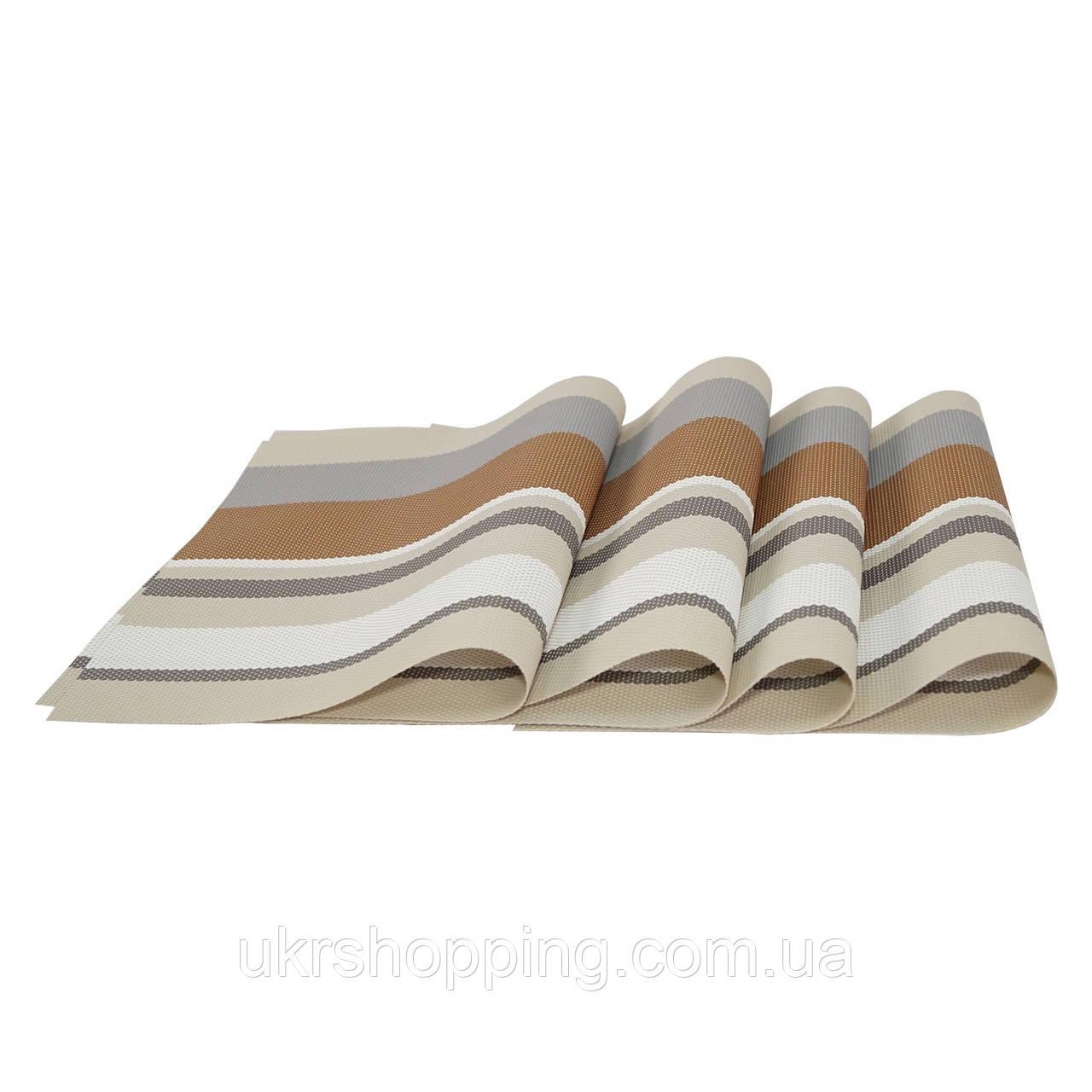 Коврики под тарелки на стол, сервировочные, набор, 4 шт., цвет - бежево-коричневый