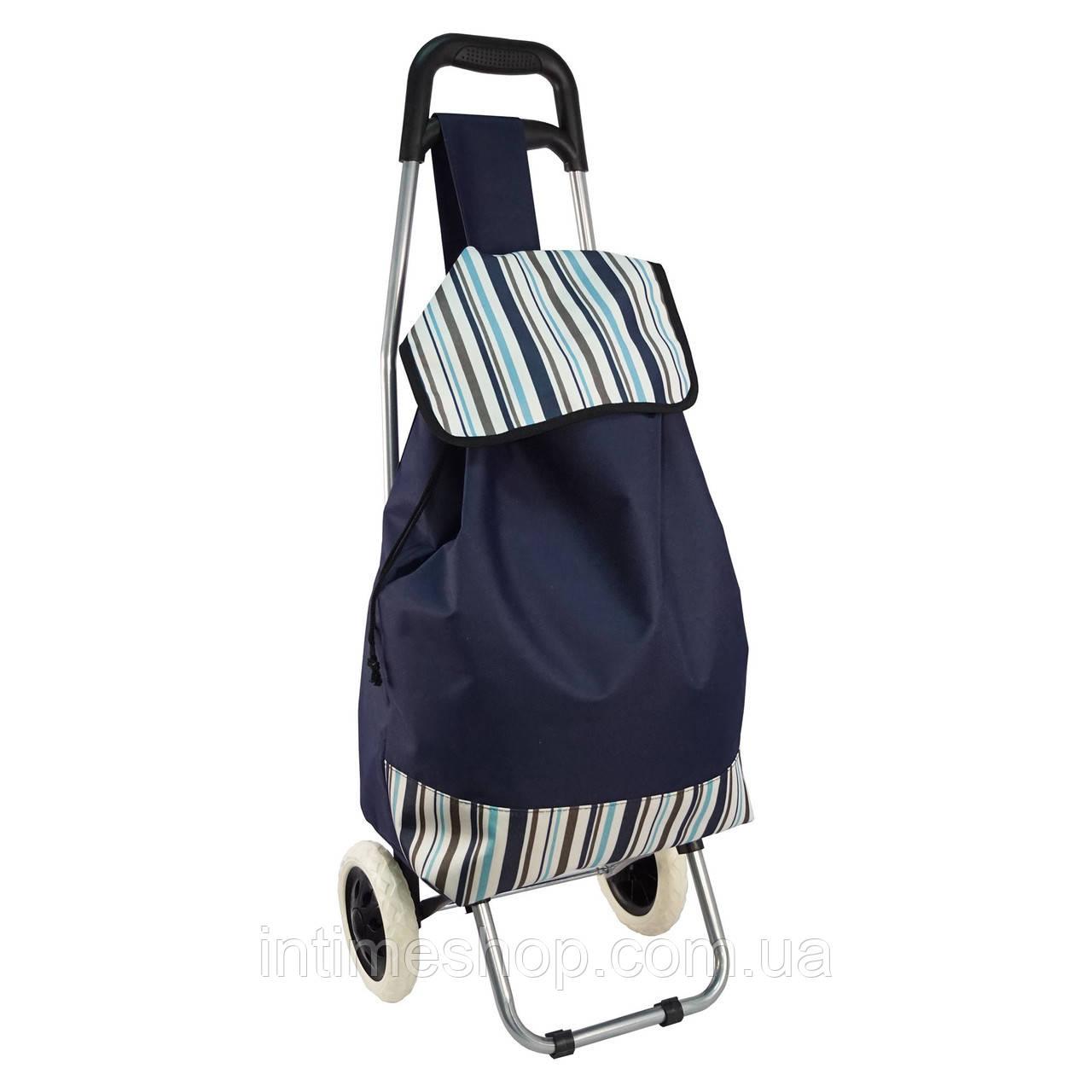 Дорожная сумка, Цвет - синий, сумка на колесах в полоску