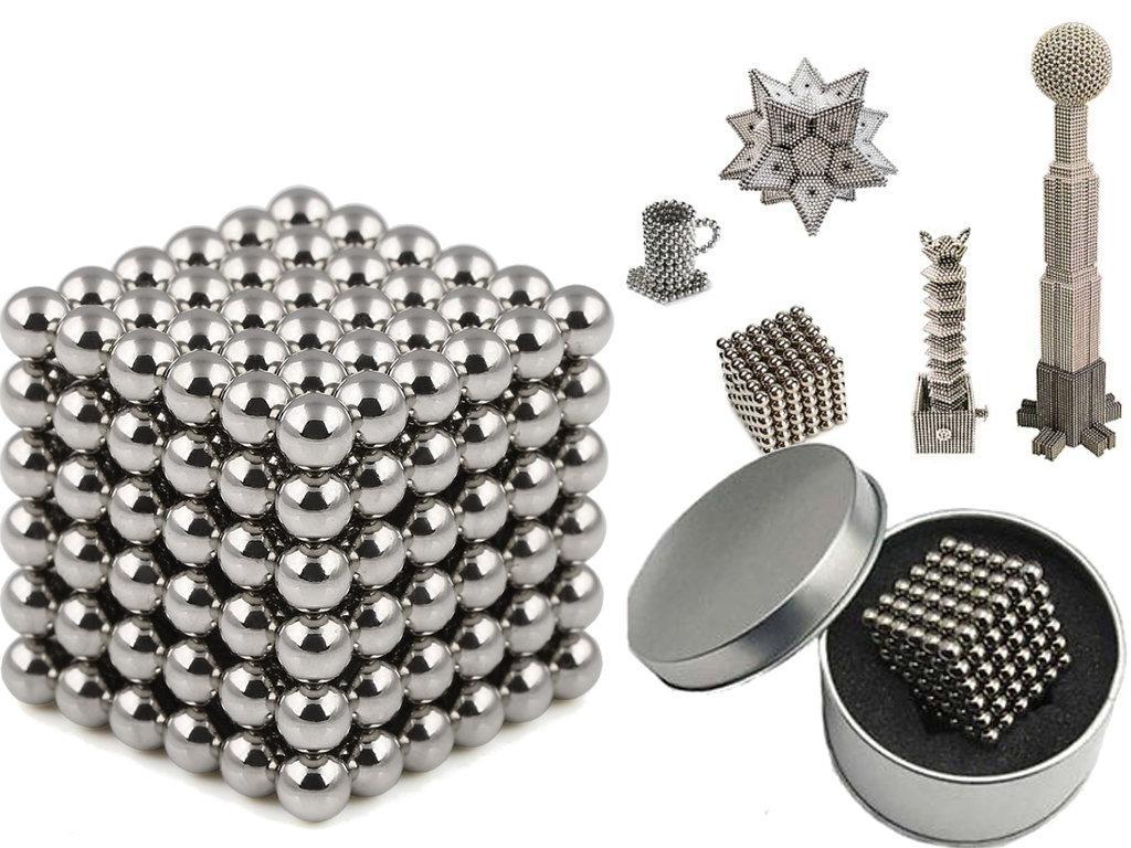Конструктор з магнітних кульок, Неокуб Сріблястий 216 шт*5мм, іграшка магнітні кульки   магнитный конструктор
