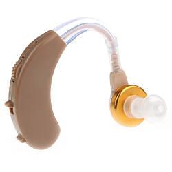 Заушной слуховой аппарат PowerTone F-138 Бежевый, усилитель слуха для пожилых людей | підсилювач слуху (GK)
