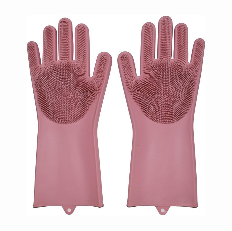 Перчатки силиконовые для мытья посуды хозяйственные для кухни Magic Silicone Gloves светло-розовые (GK)