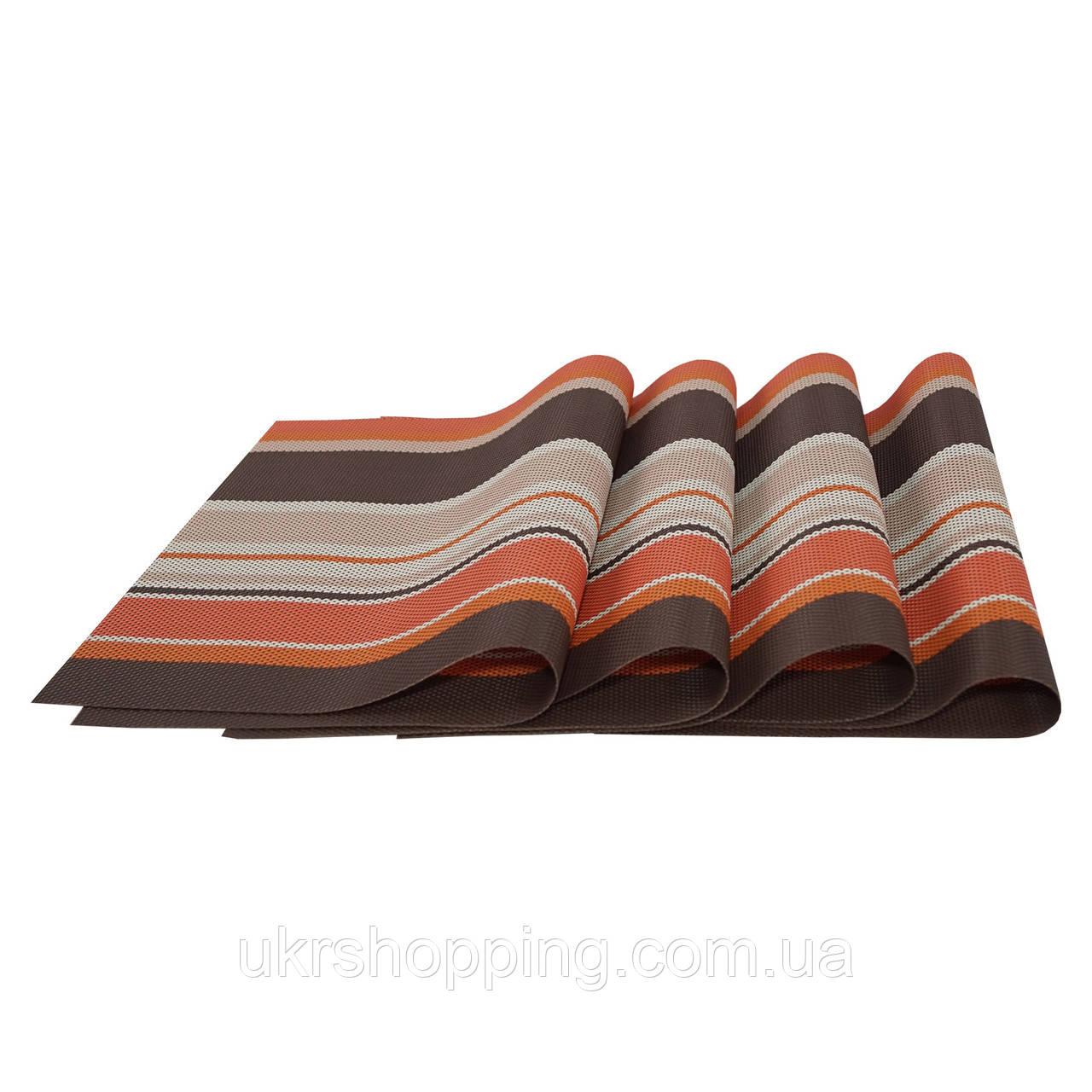 Сервірувальні килимки, декоративні, на стіл, 4 шт. в наборі, колір - коричнево-оранжевий
