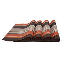 Сервірувальні килимки, декоративні, на стіл, 4 шт. в наборі, колір - коричнево-оранжевий, фото 1