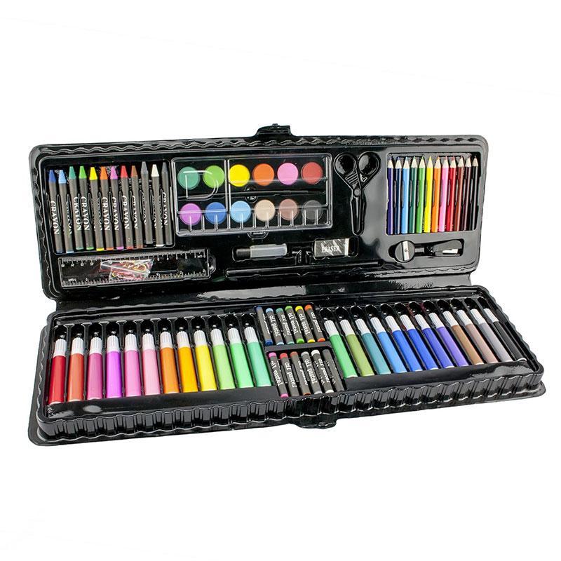 Детский подарочный набор для рисования Art set, 92 предмета (чёрный футляр), все для творчества (GK)