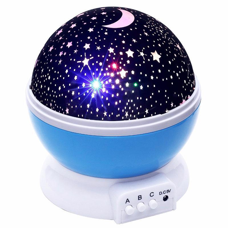 Вращающийся проектор звездного неба, ночной светильник, Star Master Dream Rotating, цвет - синий (GK)