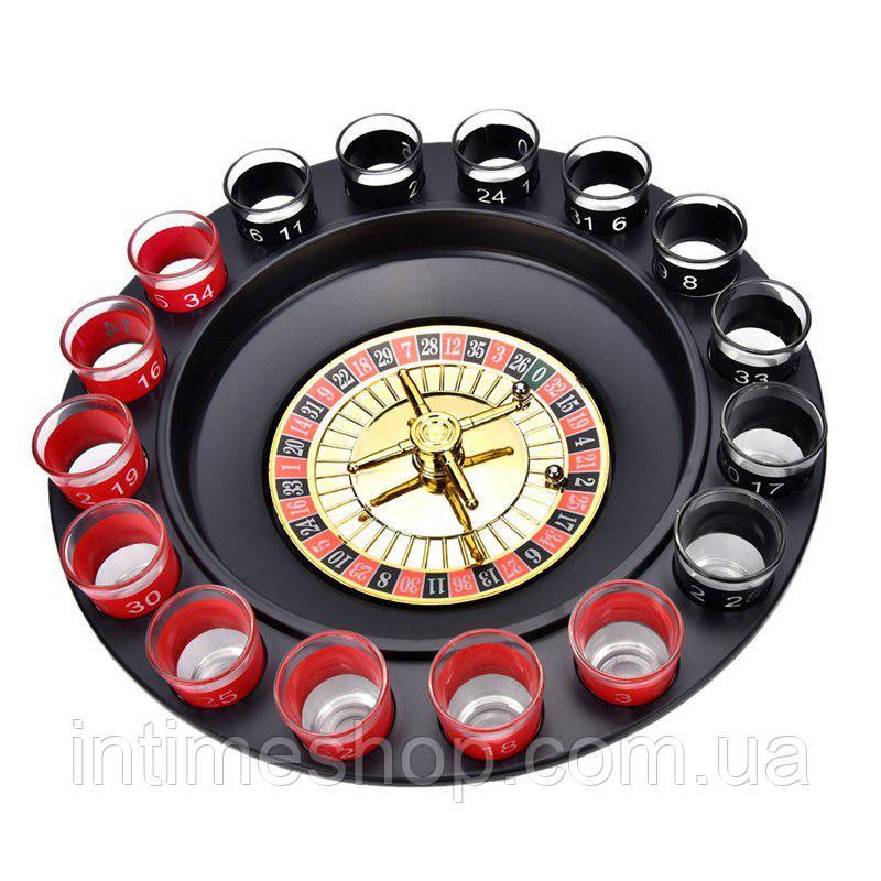 Игра пьяная рулетка с рюмками 16 шт Красно-Черная, алко рулетка со стопками   рулетка алкогольная (TI)