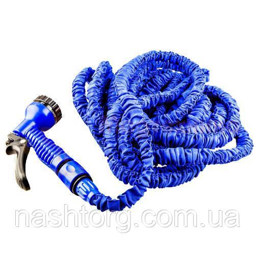 Распродажа! Поливочный шланг с распылителем X-hose (Икс Хоз) Magic Hose на 60 метров - синий с доставкой